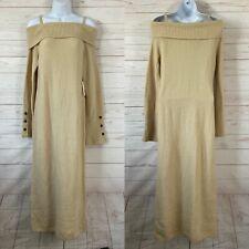 Something Navy Off Shoulder Long Sleeve Midi Sweater Dress Medium Beige NWT