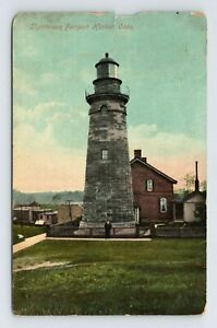 WORN Light House Fairport Harbor Ohio Antique 1916 Postcard view keeper in front