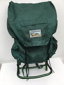 Vintage Metal Framed Backpack Rucksack Green Hiking / walking