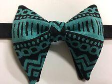 Handmade Black/Teal Aztec Bow tie Vintage style 70`s Bowtie Pre-tied Adjustable