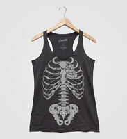 Halloween Skeleton Tank Top Racerback Hand Screen Print Party Costume Gothic Tee
