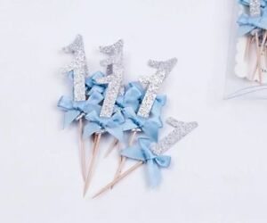 """Baby's 1st Birthday Cupcake Toppers - """"1"""" (Pack of 12)"""