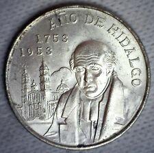 1953 Mexico Silver 5 Pesos Coin Uncirculated Bicentennial of Hidalgo's Birth