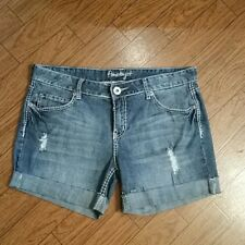 Factory Whispering Distressed Denim Jean Cuffed Shorts