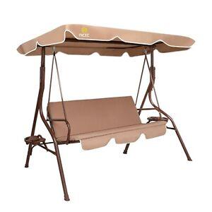 Patio Porch Swing Chair/Bench Canopy Glider (Khaki)