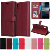 Slim Wallet Leather Flip Case Cover For Sony XA2 XA1 L1 L2 L3 XZ2 XZ1 1 10 Plus