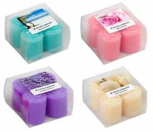 Votive Candles - Set of 4 - 4 Scents - 4 Colours - Hours Burning Time