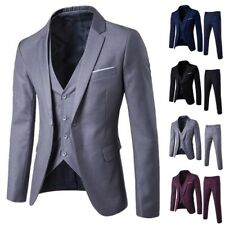 Mens Formal Solid 3-Piece Suit Blazer Business Wedding Party Jacket Vest Pant US