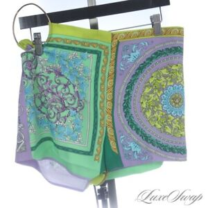 NWT Versace Made in Italy A88514 Green Purple Barocco Gold Ring Short Shorts 44