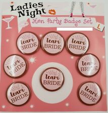 8 x TEAM BRIDE  /  HEN PARTY NIGHT DO BADGES PINK  ACCESSORIES BAG FILLERS
