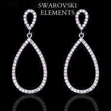boucles d'oreilles créoles ovales de LUXE Swarovski® Elements plaqué or blanc