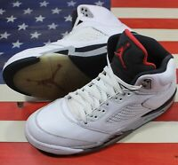 Nike Air Jordan 5 V Retro White/Cement-Grey/Red/Black 2017 [136027-104] Men's 11