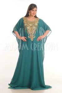 Palestinian Kaftan Maxi Dress Boho With Hand Embroidered Golden Beads 4822