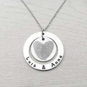 Custom Fingerprint Necklace Personalised Two Actual Fingerprints Gift for Her