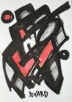 SEVARD Abstrakte Komposition Gemälde Zeichnung A4 Original Signiert Unikat N508