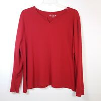 Cato Womens Size 26/28W Pullover Top Blouse Long Sleeve Red Ribbed