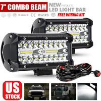 2x 7inch LED Work Light Bar Flood Spot DRL Fog Lamp Offroad Driving Truck+ Wire