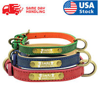 Personalized Dog Collar Adjustable Soft Leather Custom Dog Collar Name ID Tags