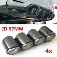 4x Universal Exhaust Tail Pipe Tip Muffler Decor 67mm/89mm Carbon Fiber Glossy
