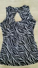 New Tempted Hearts Top Slvls Pullover 5% Spandex Slinky Women's Black/Wht Blouse