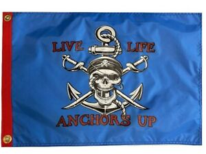 """Pirate LIVE LIFE ANCHORS UP 12"""" x 18"""" Two Sided Flag Outdoor 200Denier USA Boat"""