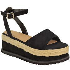 Womens Ladies Flatform Cork Espadrille Sandals Wedge Lace Up Ankle Shoes Size