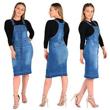 Womens Ladies Button Pinafore Dungaree Dress Jeans Skirt Blue 8 10 12 14 16 UK