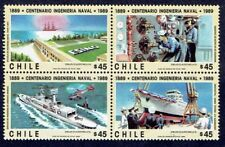 CHILE 1989 STAMP # 1384/7 MNH BLOCK OF FOUR SHIPS NAVAL ENGINEERING