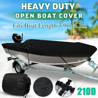 Trailerable Heavy Duty Open Boat Cover Speedboat V-Hull Runabout Waterproof 210D