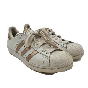 Adidas  SuperStar Shoes Womens 10 Baseline White Rose Gold Trim Sneakers