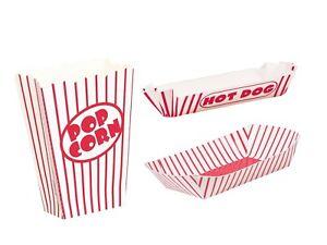 Popcorn Treat Bag Box Hot Dog Tray Red stripe Cinema  Movie Treat BBQ Summer