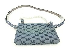 Michael Kors Size M Signature Leather Fanny Pack Belt Bag Button Gray Silver NWT
