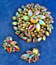 SHERMAN Aurora Borealis RARE Large 3D Floral Brooch & Pair of Clip Earrings Set
