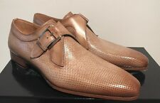 Magnanni Tan Taupe Leather Monk Strap Loafers SZ 8 slip on buckle