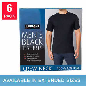 Kirkland Men's 6-pack Black 100% Cotton Crew Neck T-shirt