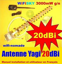 Carte Wifisky 3000 mW g/n 150 Mbps antenne 11 dBi + Yagi 20 dBi