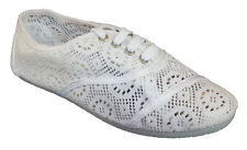 Womens Classic Crochet Canvas White Lace Up Flat Espadrilles Loafers Cute Shoes