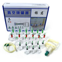 24 Cups Chinese Vacuum Cupping Set Kit Massage Body Therapy Suction Acupuncture