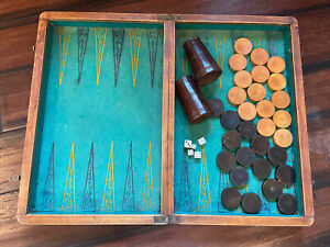ANTIQUE FRENCH WOODEN BACKGAMMON/CHESS SET WITH ALL BACKGAMMON CHECKER PIECES