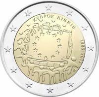 2 Euro Zypern 2015 30 Jahre Europaflagge -  Europäische Flagge  unc.