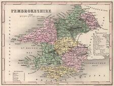 Old Vintage Pembrokeshire Wales decorative map Archer ca. 1848