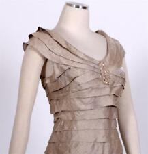 LondonTimes womens Dress tan gold tiered short Cocktail Party Wedding sz 8  NWT