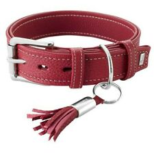 collier cuir petit chien hunter cannes  35  19/27 cm 63792 rouge
