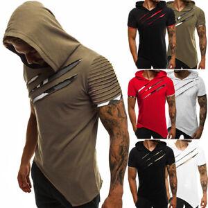 Mens Muscle Hooded Hoodie Short Sleeve T Shirt GYM Slim Fit Casual Tee Top Sport
