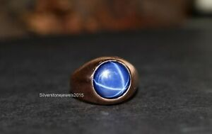 Blue Sapphire Ring 925 Solid Sterling Silver Round Star Gemstone Yellow Gold