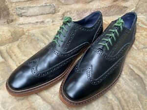Cole Haan Men's Wing Tip Shoes Black w/ Green Accent 11 M