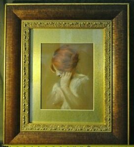 Antique JOHN WHITWORTH ROBSON Original Pastel Red Head Partial Nude Framed  2-A