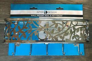 *new* INTER DESIGN WALLMOUNT MAIL HOLDER BASKET & KEYRACK HOOKS
