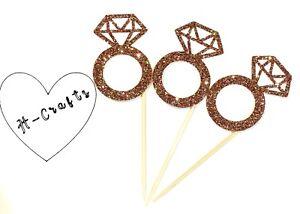 12x Rose Gold Diamond Ring Cupcake Topper/  Engagement/ Wedding/ Hen Do / Love