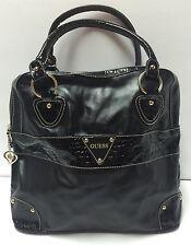 Guess Large Black Tote Handbag Purse W/ Crocodile Print Stripe Gold Heart Zipper